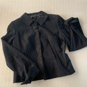 Adorable black jacket with frayed hem detail